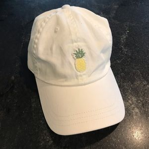 PINK Victoria's Secret Dad Hat White Pineapple
